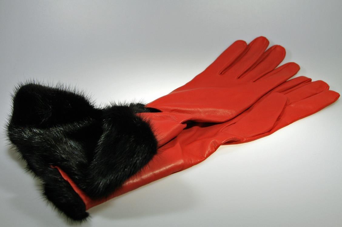 23c1e2a8ab55cc Rote Luxus Lederhandschuhe mit Nerz für Herren