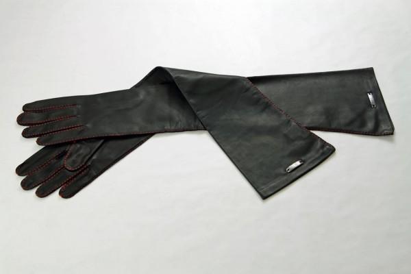Luxus Lederhandschuhe mit roter Naht - MICELI-Made in Italy