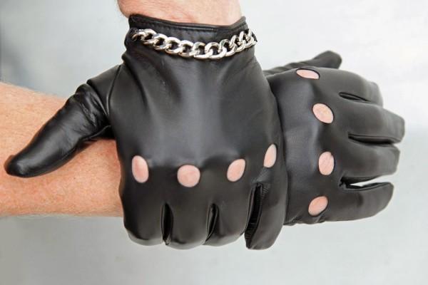 Herren Autofahrerhandschuhe schwarz Leder ungefüttert