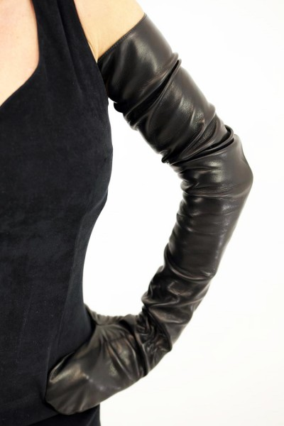80 cm Herren Lederfäustlinge schulterlang - MICELI - Made in Italy