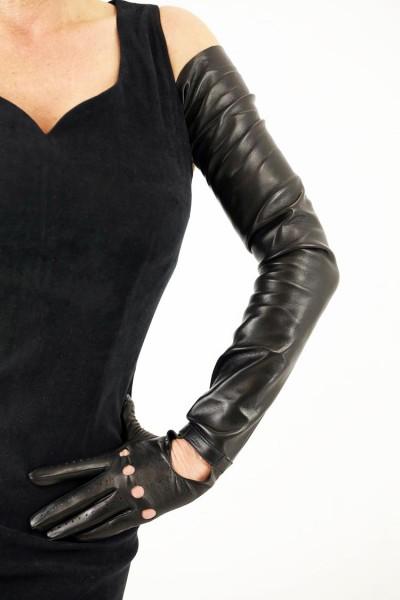 80 cm Autofahrer Lederhandschuhe schulterlang - MICELI - Made in Italy