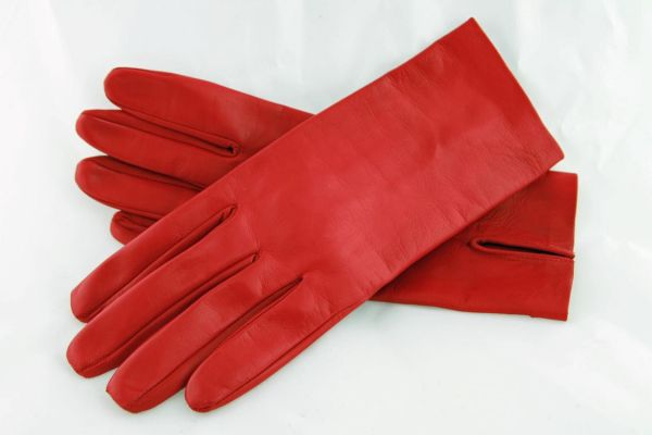 Exklusive kurze rote Lederhandschuhe - MICELI - Made in Italy