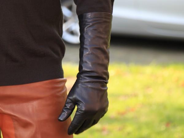Herren Lederhandschuhe schwarz 35 cm lang