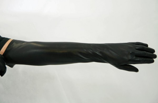 Schwarze Lederhandschuhe 60 cm lang MICELI - Made in Italy